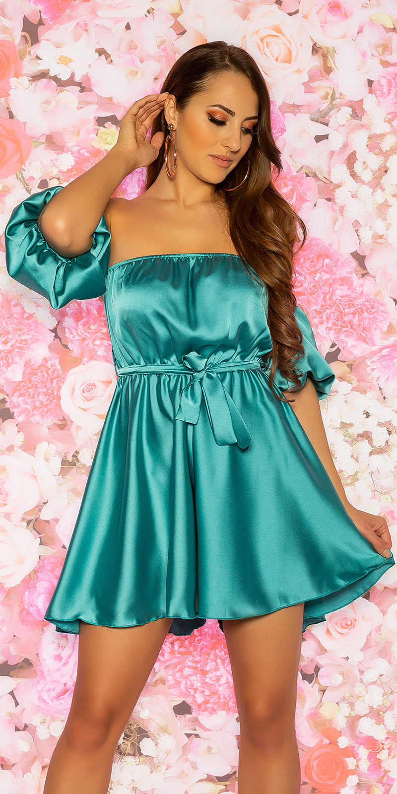 Sexy off shoulder jumpsuit satijnlook mintgroen