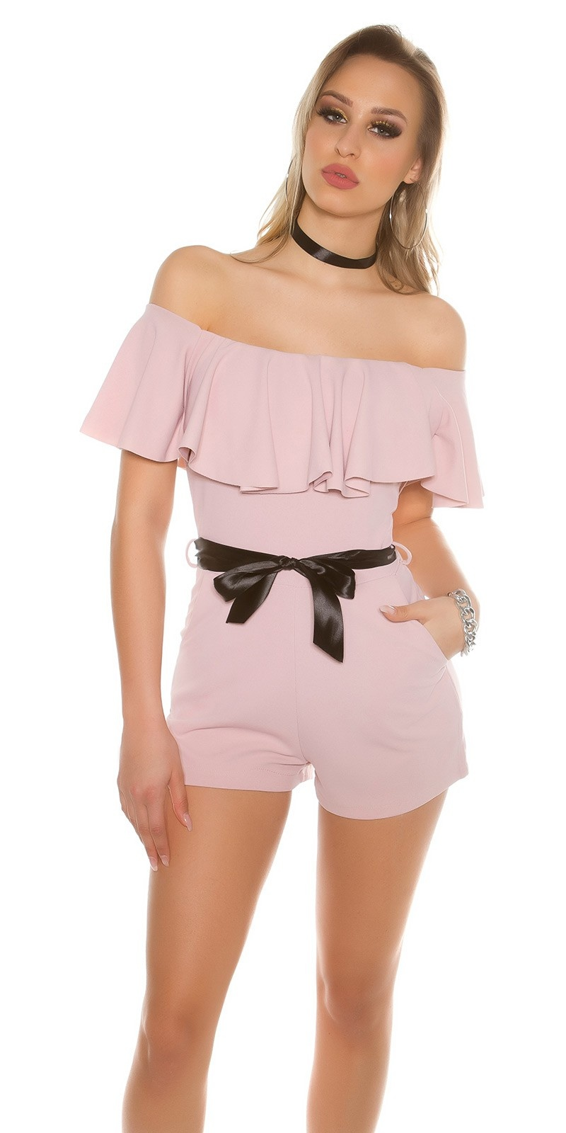 Sexy Playsuit with flounce and satinlook belt Antiquepink