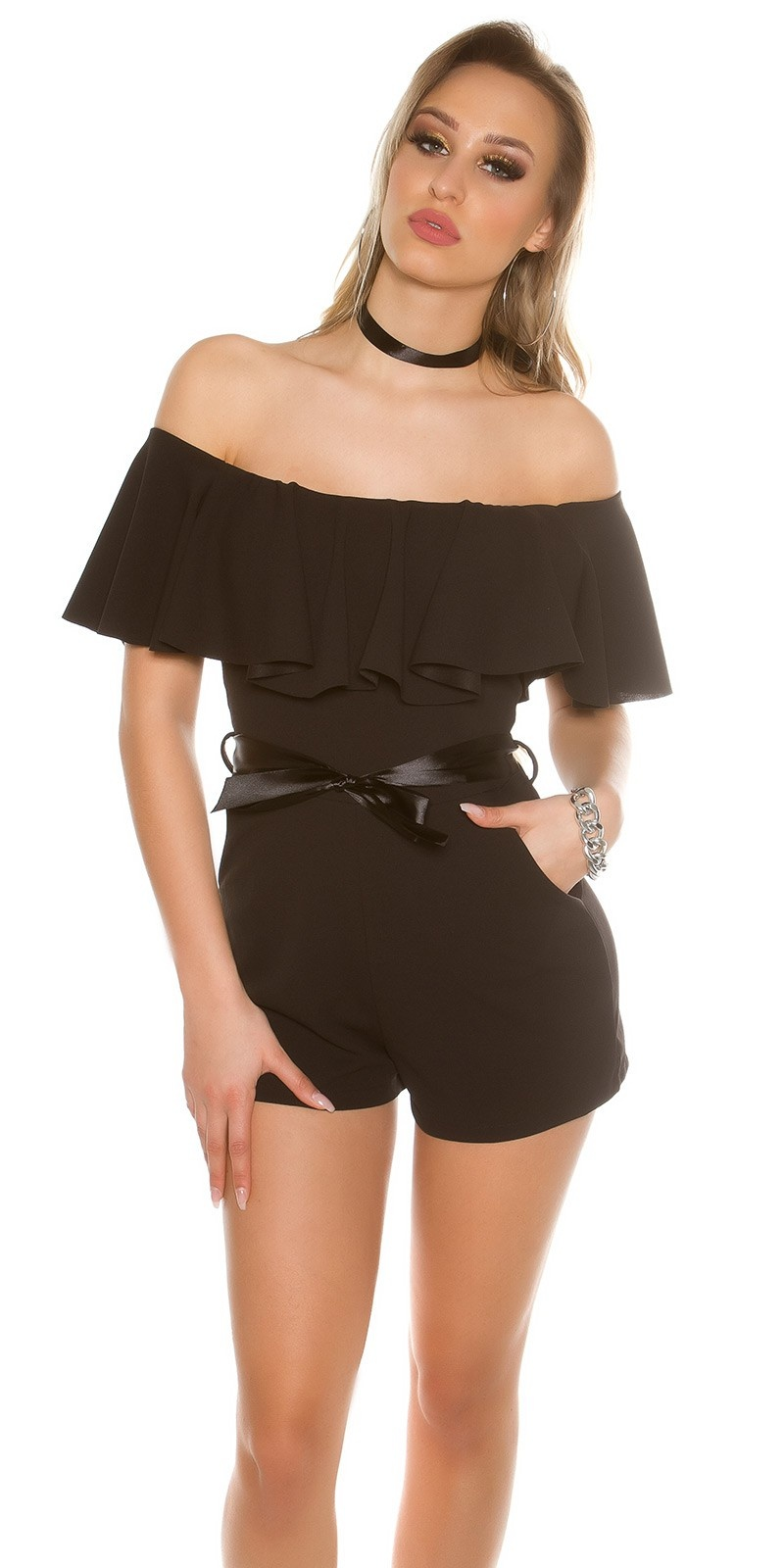 Sexy Playsuit with flounce and satinlook belt Black
