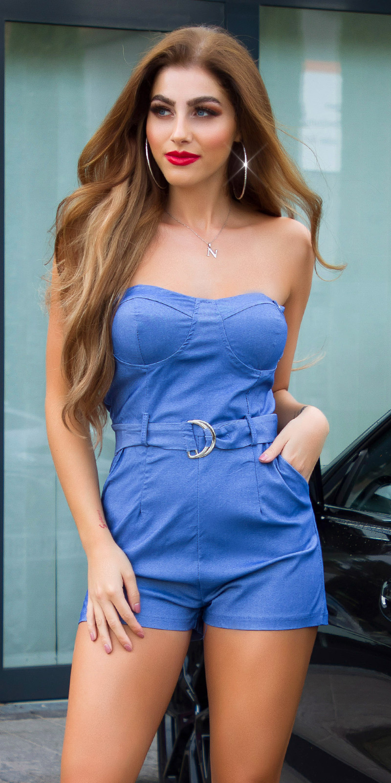 Sexy jumsuit met bandjes en riem blauw