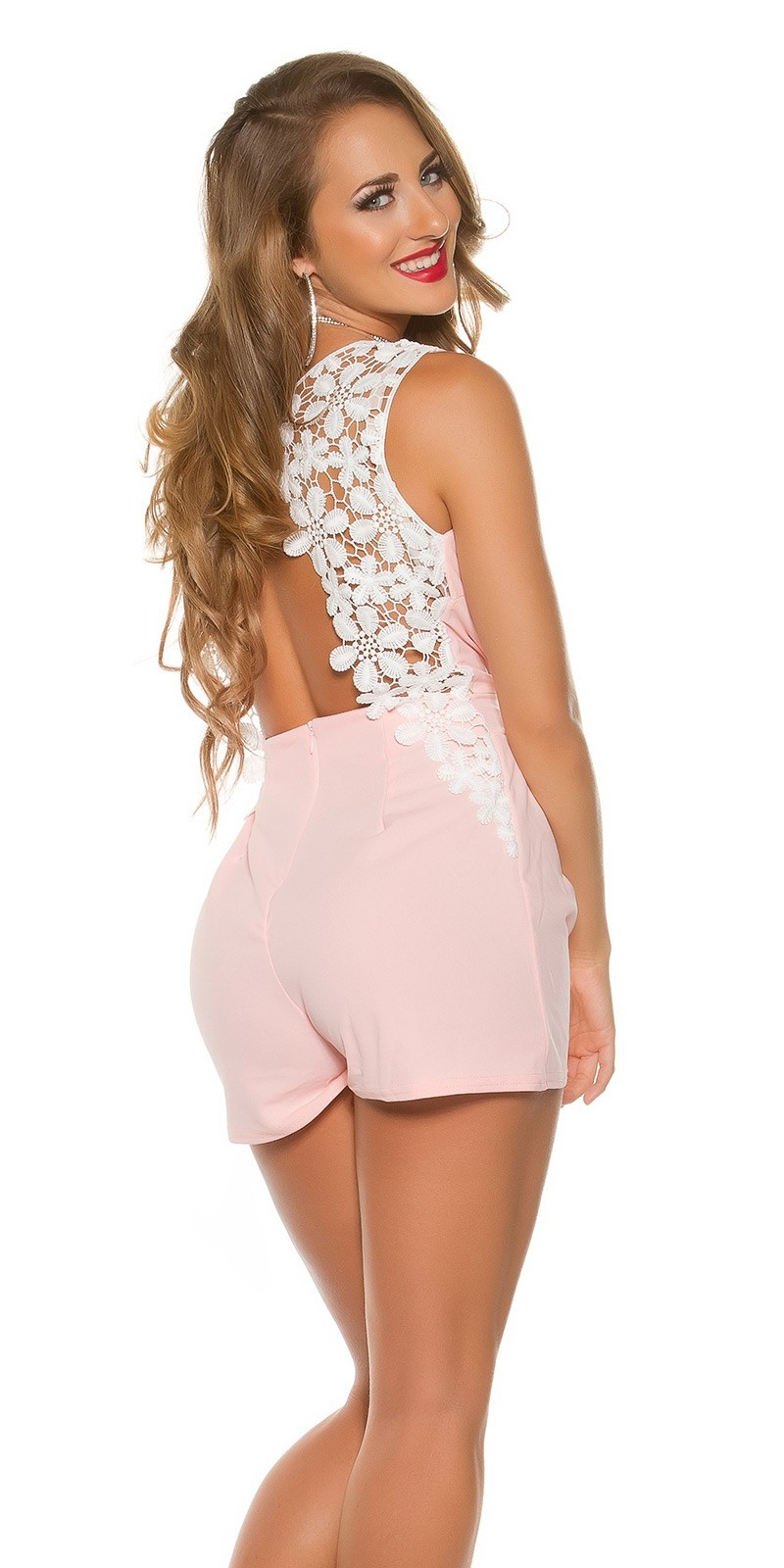 Sexy wrap look Playsuit sexy back Pink