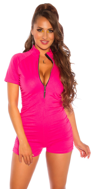 Sexy gathered jumpsuit with a zipper Pink