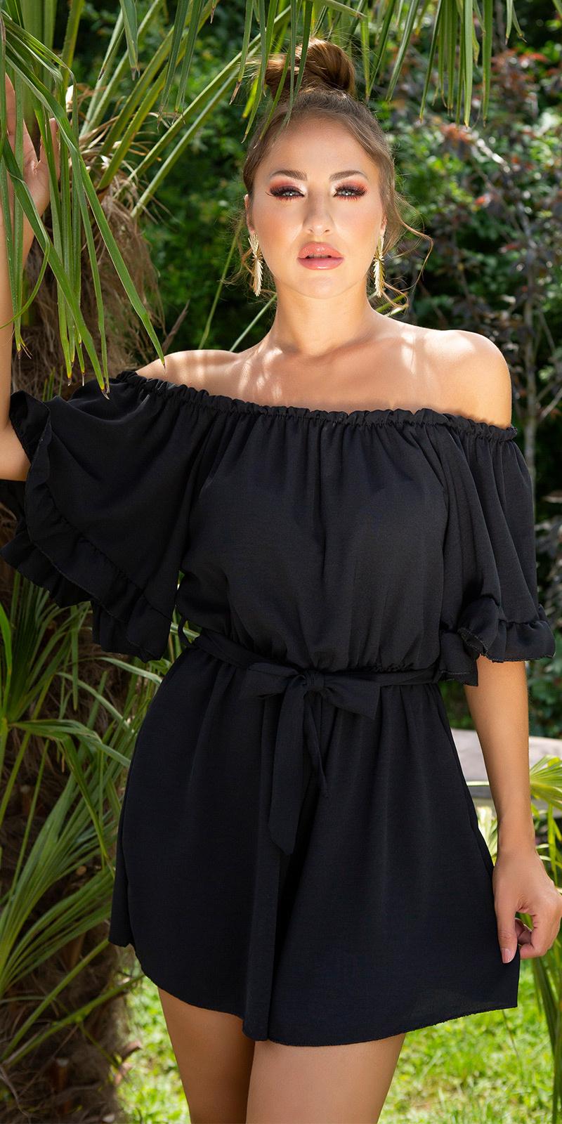 Sexy off-shoulder jumpsuit met riem zwart