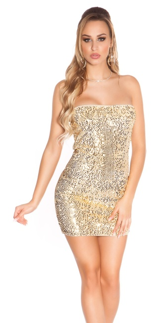 Sexy KouCla Party-minidress with sequins Beige