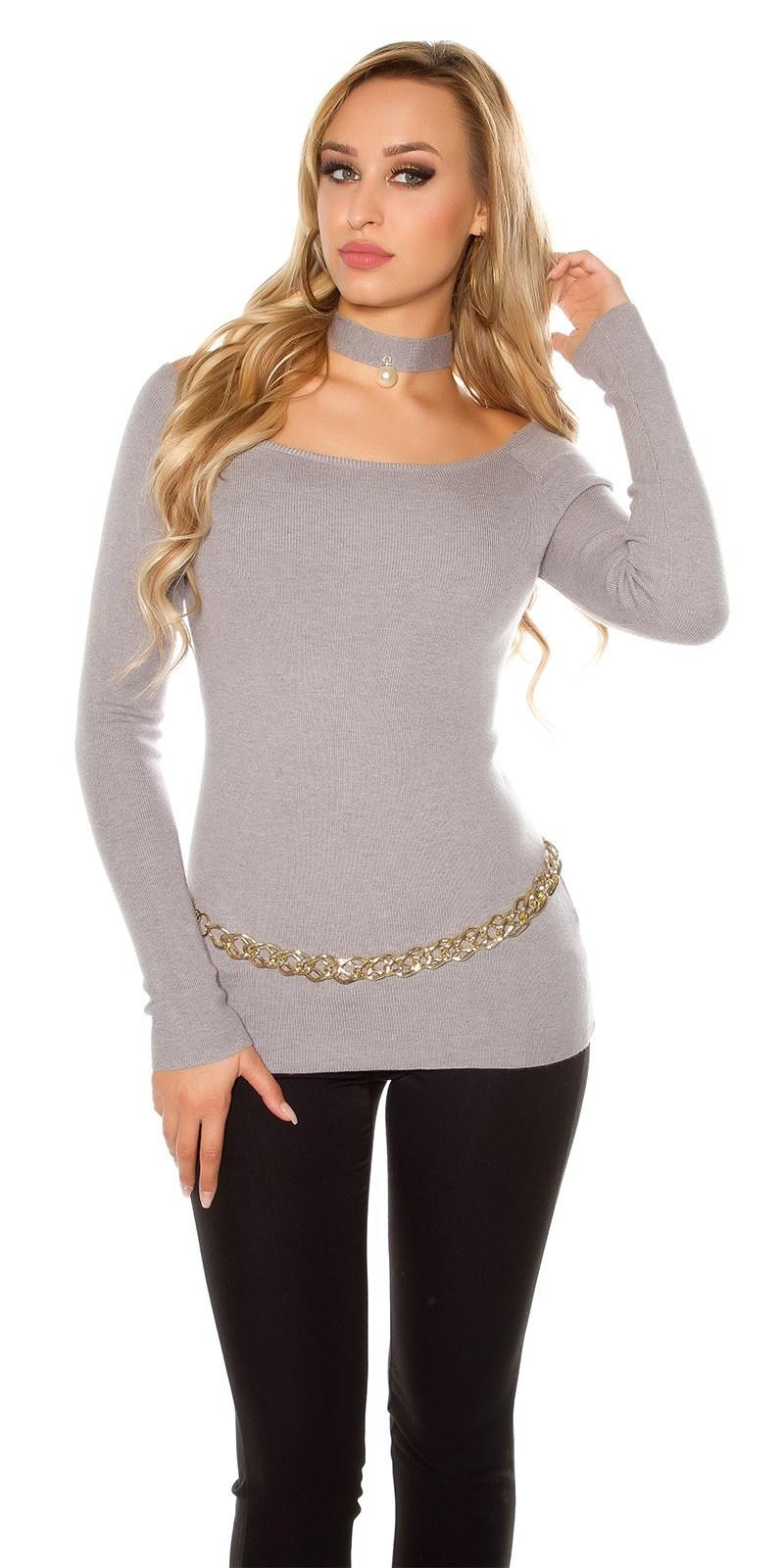 Sexy carmen sweater-trui met decoratieve parel lichtgrijs