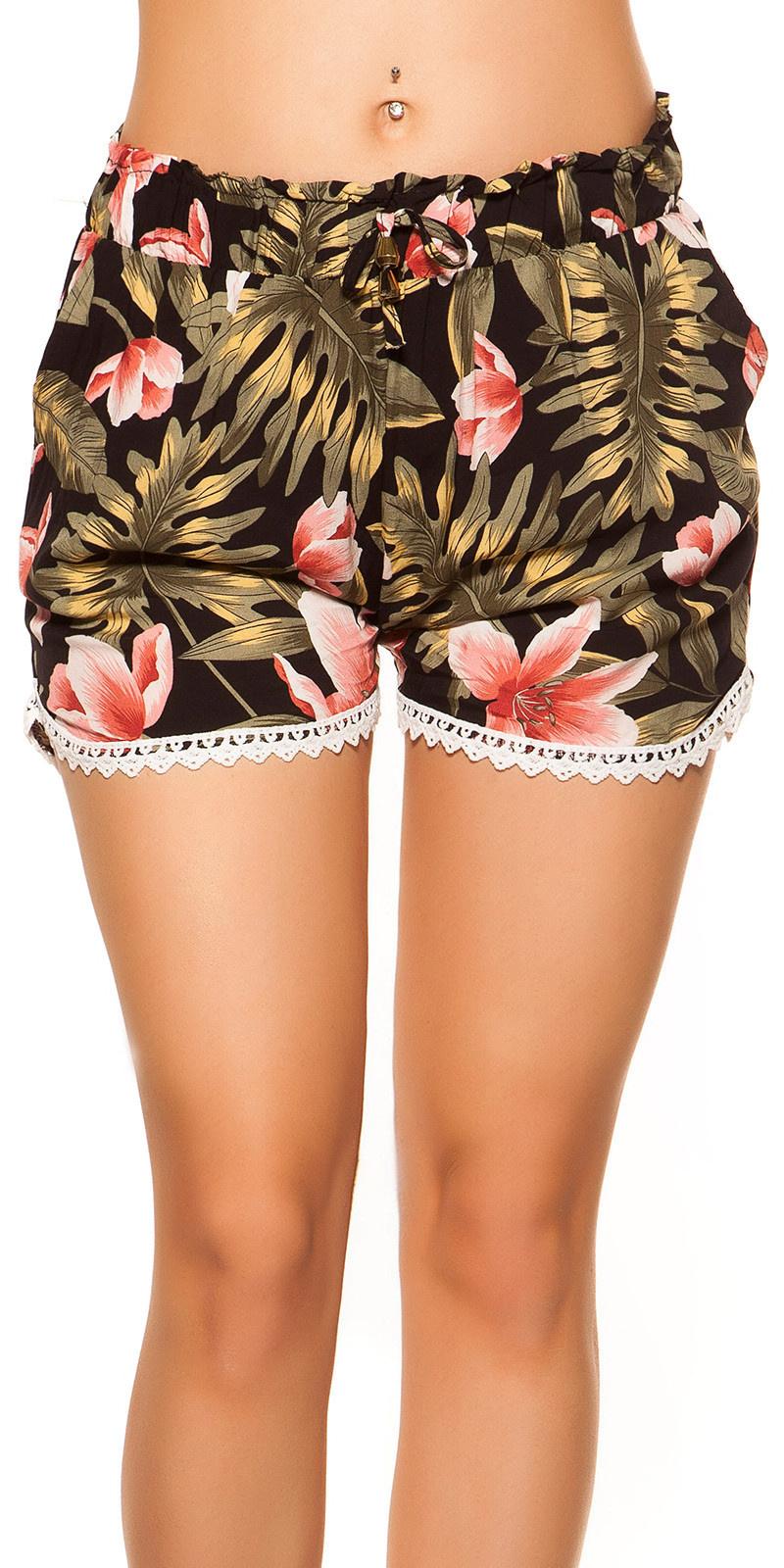 Sexy zomer shorts met kant & print zwart