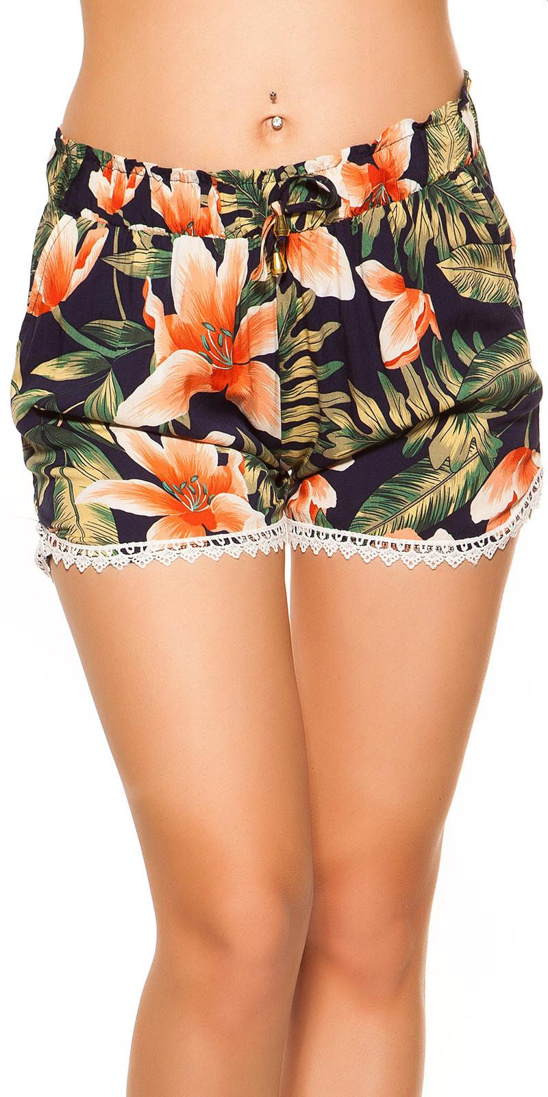 Sexy zomer shorts met kant & print marineblauw