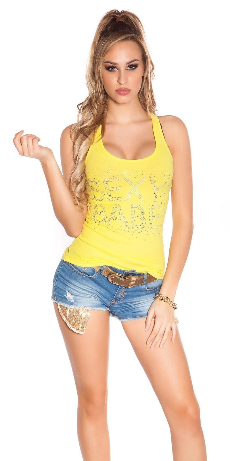Sexy KouCla Tanktop mit Sexy Babe Strassprint Yellow