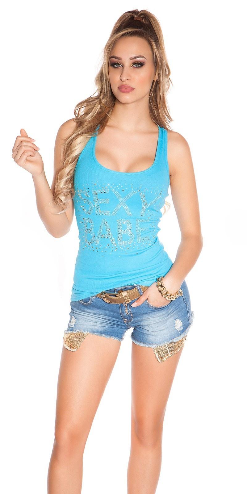 Sexy KouCla Tanktop mit Sexy Babe Strassprint Turquoise