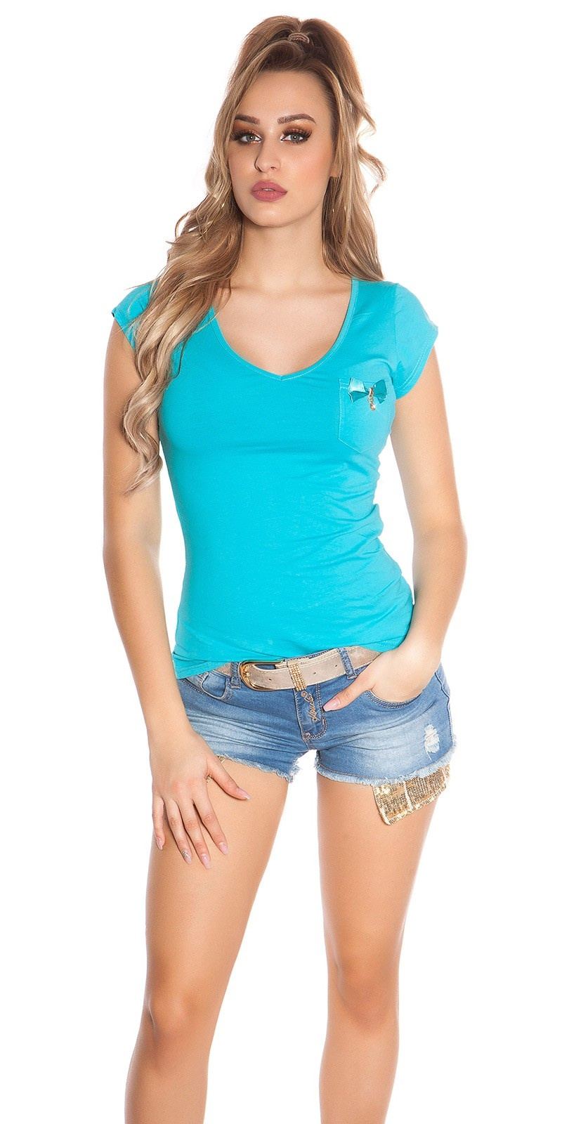 Trendy KouCla Shirt with Pocket and Studs Turquoise