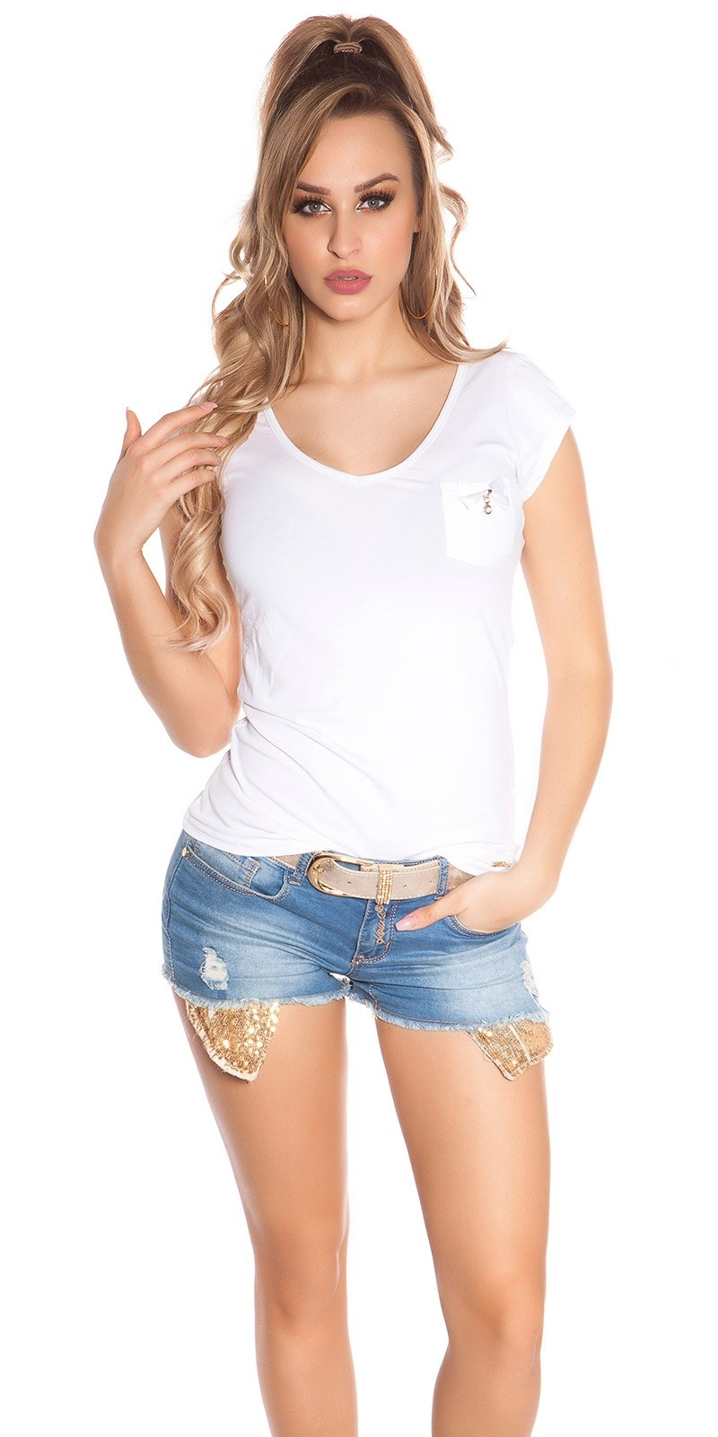 Trendy KouCla Shirt with Pocket and Studs White