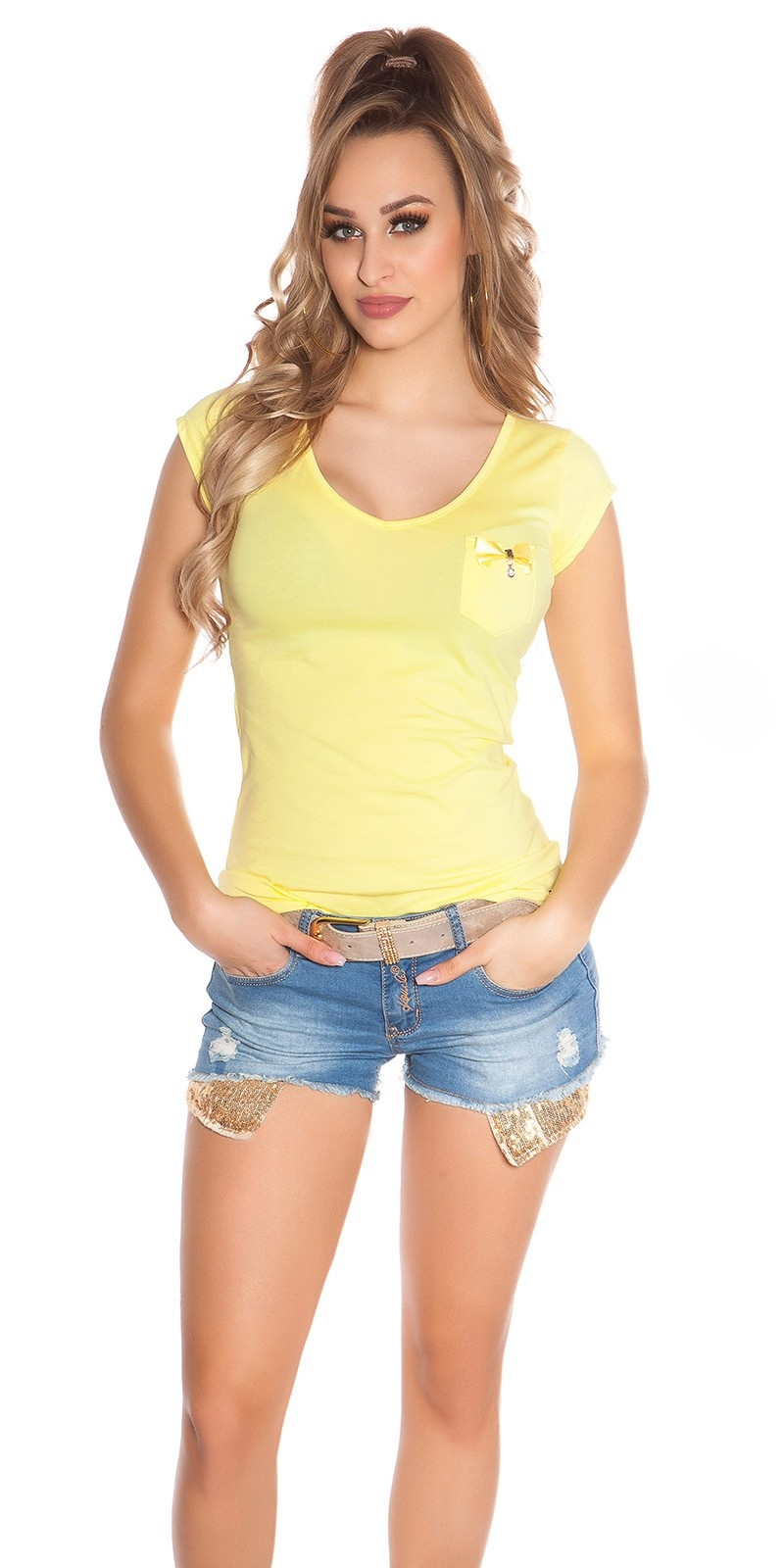 Trendy KouCla Shirt with Pocket and Studs Yellow