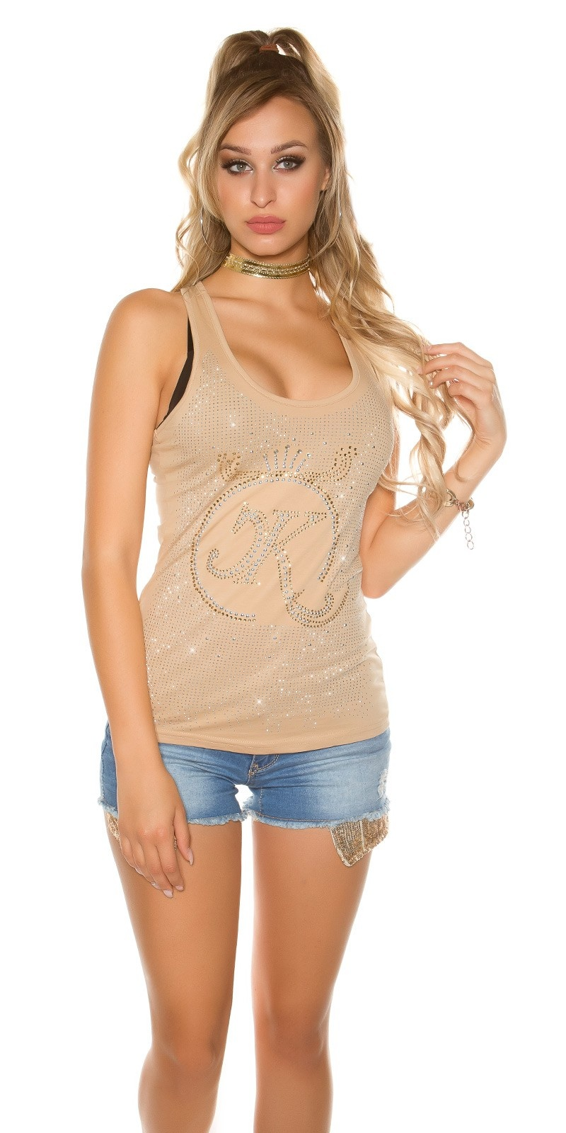 Sexy KouCla tank top with glitter stone and rivets Beige