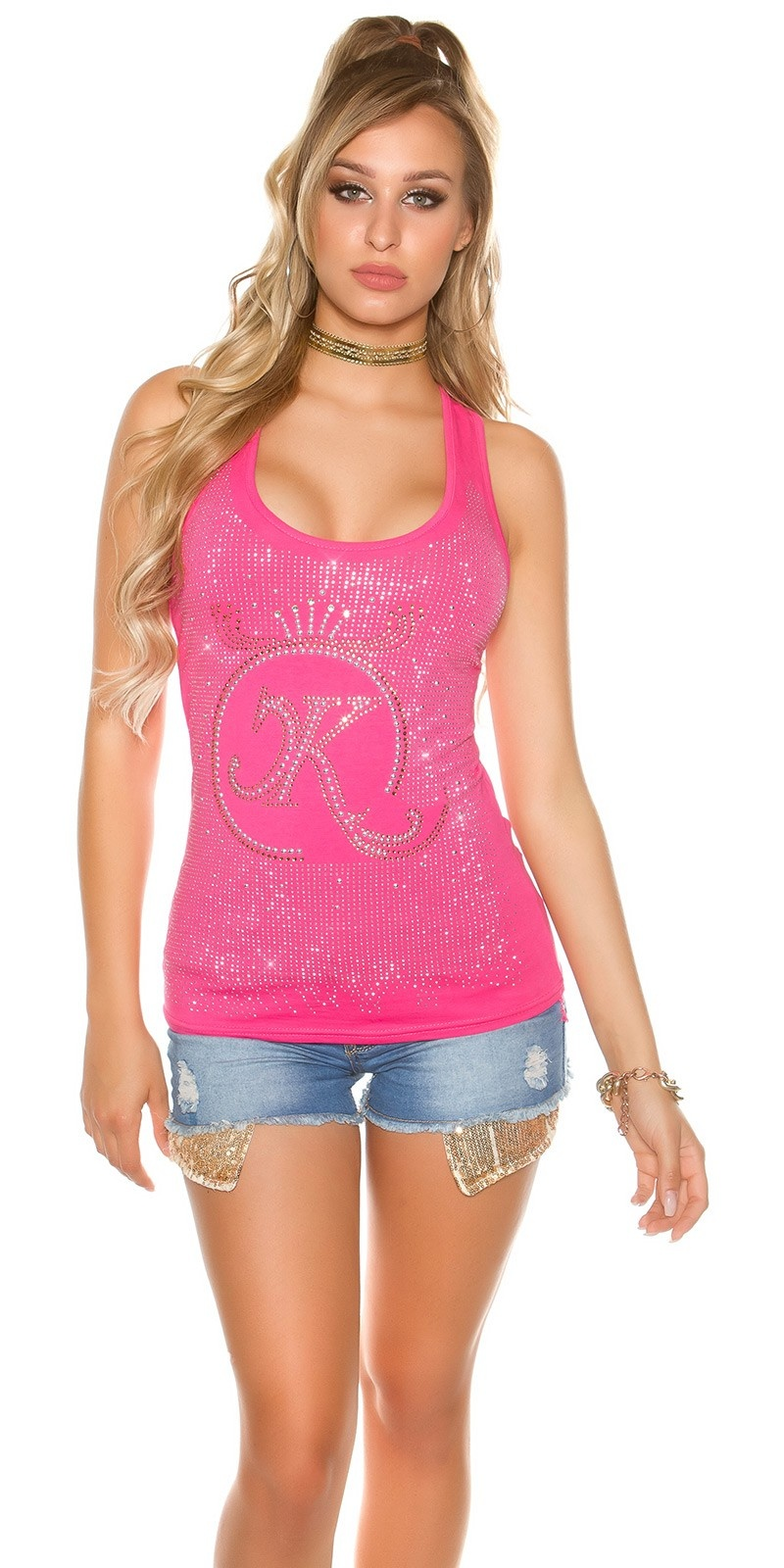 Sexy KouCla tank top with glitter stone and rivets Fuchsia