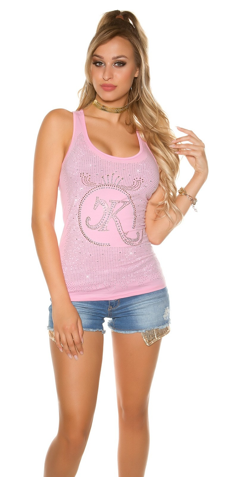 Sexy KouCla tank top with glitter stone and rivets Pink