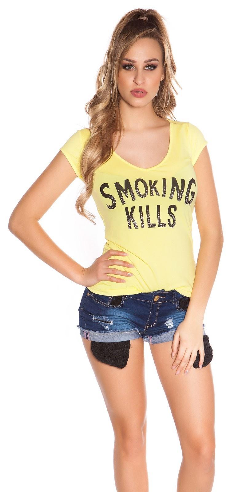 Sexy t-shirt smoking kills geel