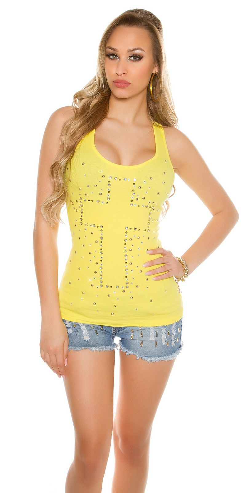 Sexy KouCla fine rip-tanktop with cross-print Yellow
