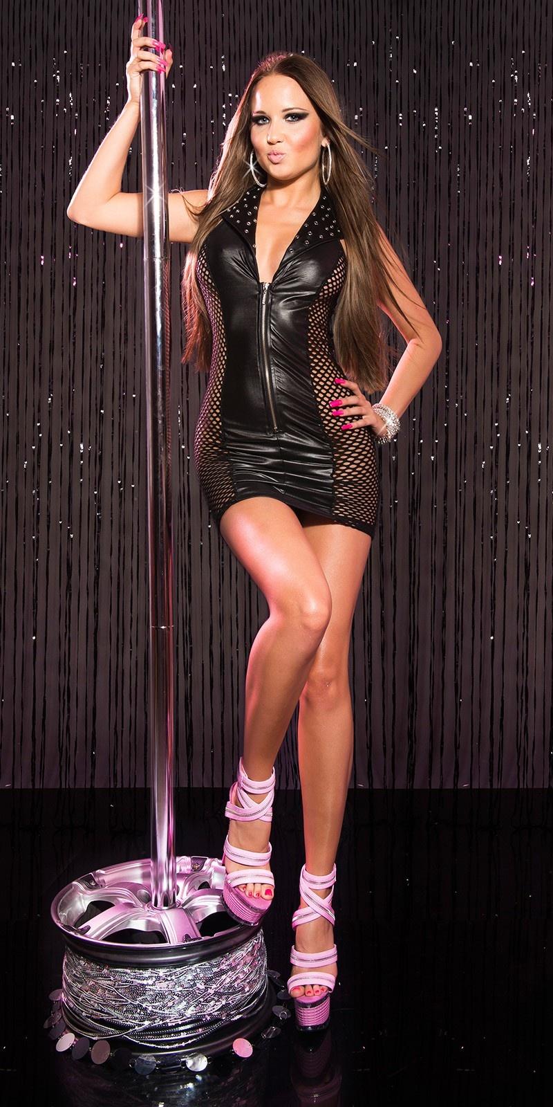 Sexy gogo-mini jurkje met net-applicatie zwart