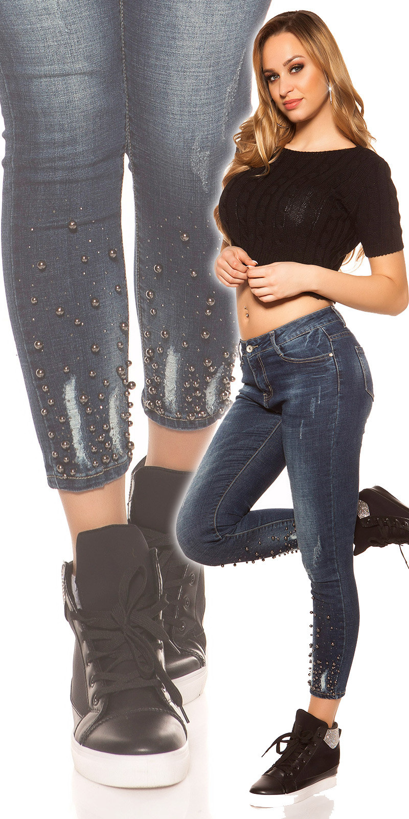 Sexy skinny jeans with studs and beads Jeansblue