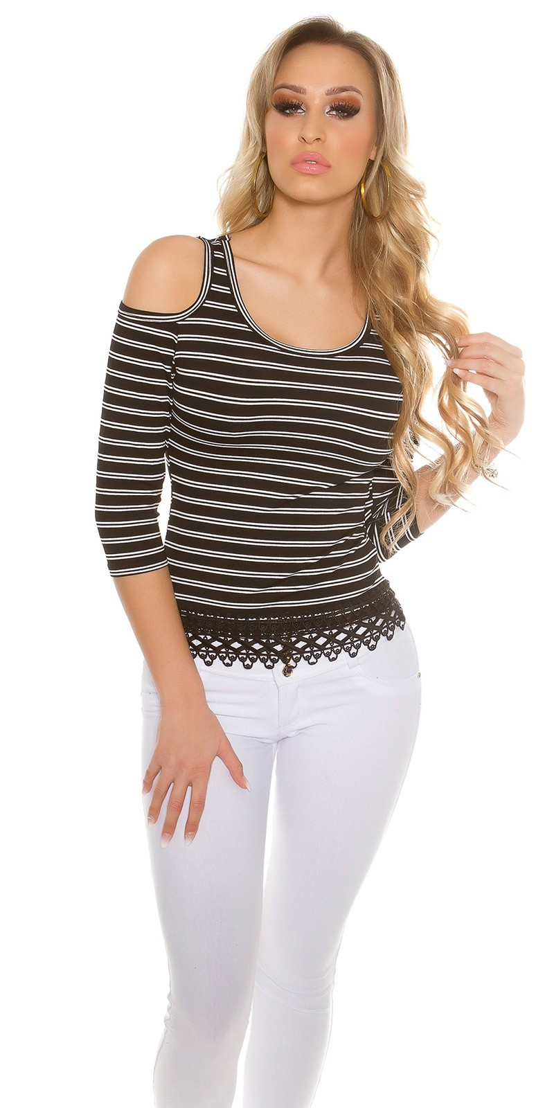 Sexy Coldshoulder long sleeve shirt striped Black