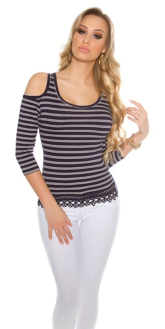 Sexy Coldshoulder long sleeve shirt striped Navy