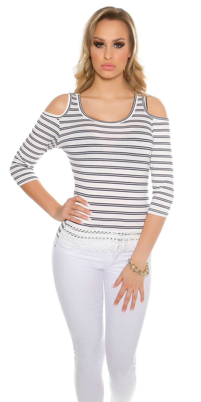 Sexy Coldshoulder long sleeve shirt striped White