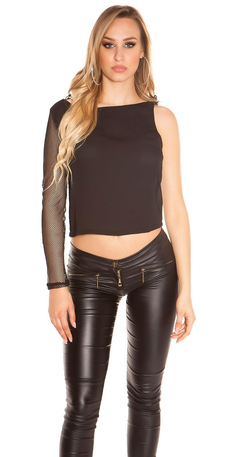 Sexy een-arm-shirt met net-mouwen zwart