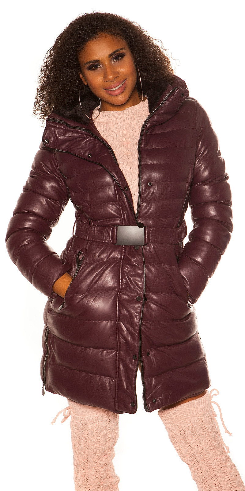 Trendy winterjack met riem bordeaux