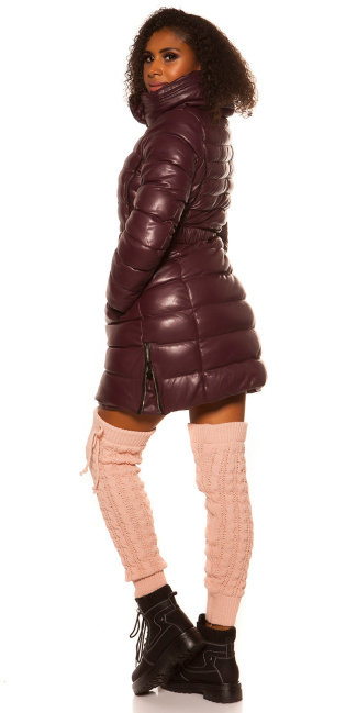 Trendy Winterjack with belt Bordeaux