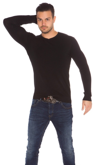 Trendy Mens V Cut Basic Knit Jumper Black