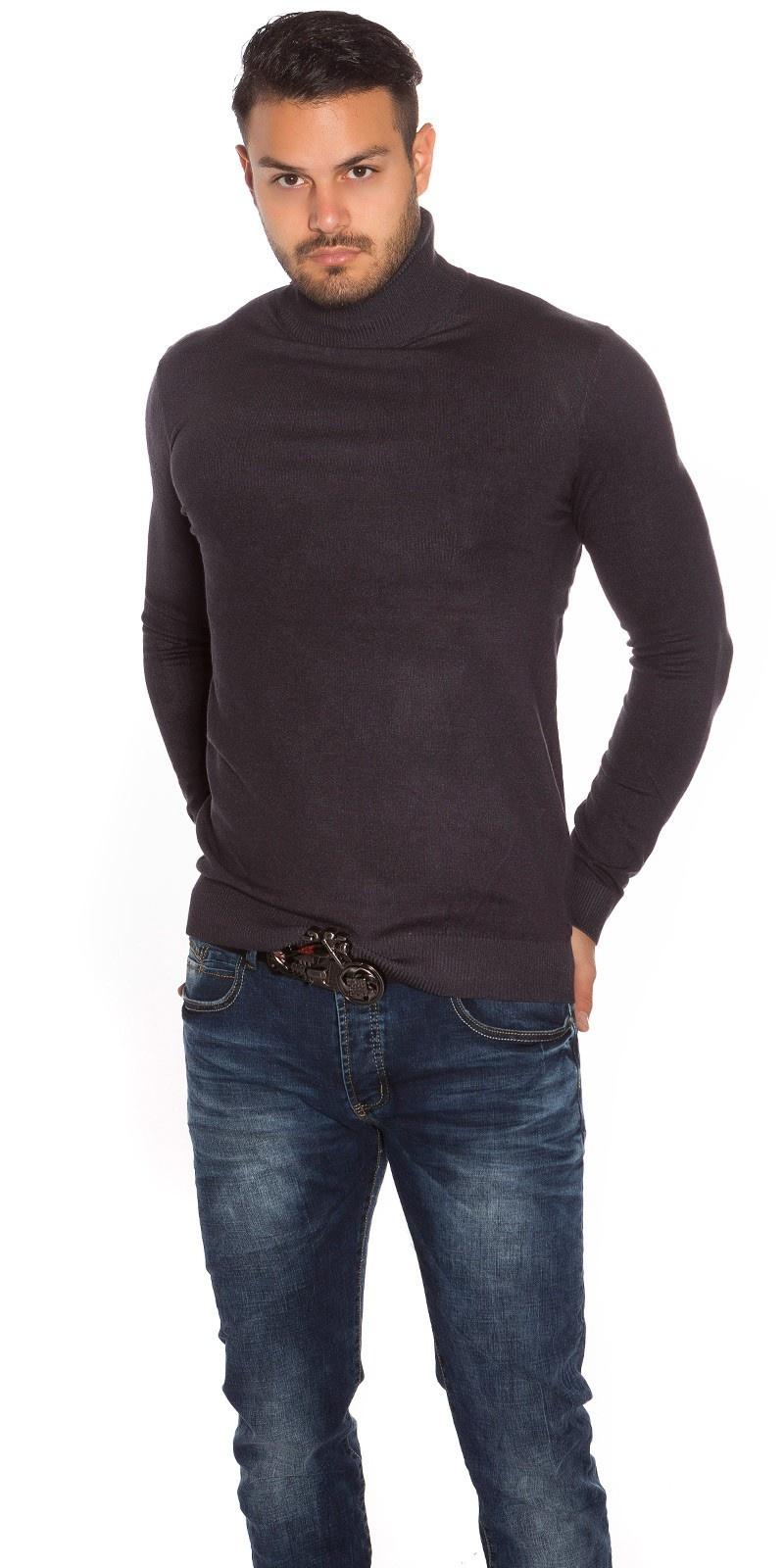 Trendy heren col sweater-trui antraciet