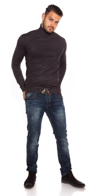 Trendy men turtleneck sweater Anthracite