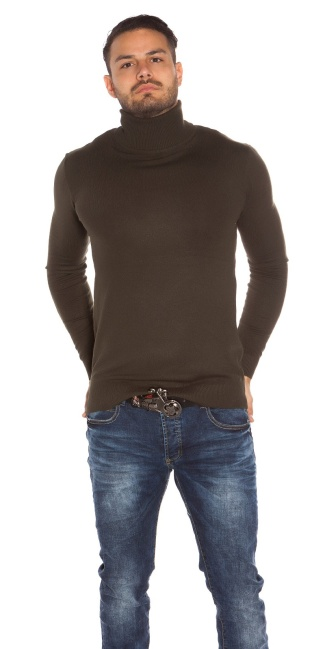 Trendy heren col sweater-trui khaki
