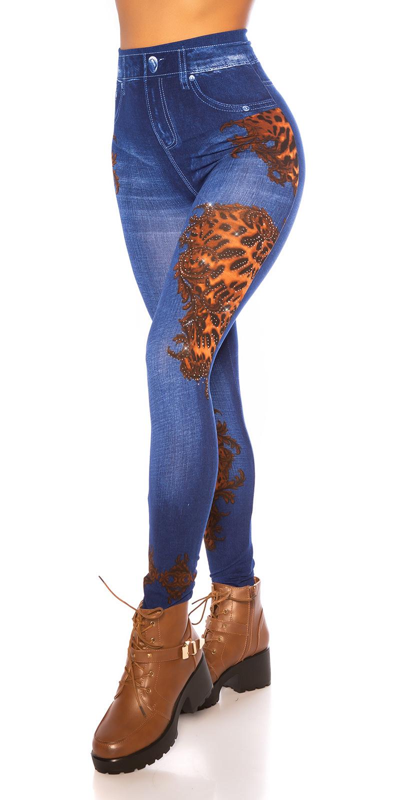 Sexy leggings jeans- look met patroon blauw