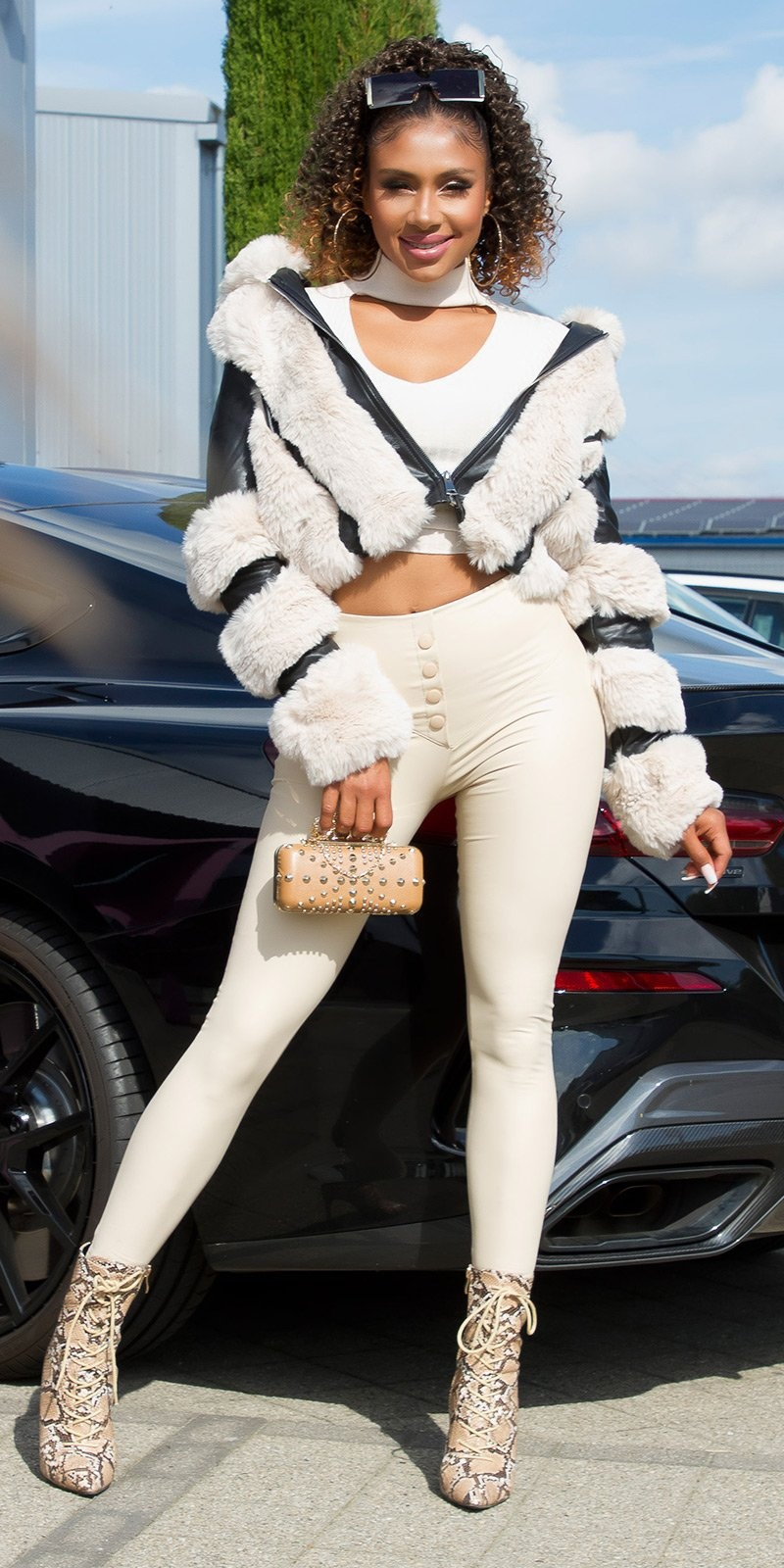 Sexy hoge taille faux leder leggings beige