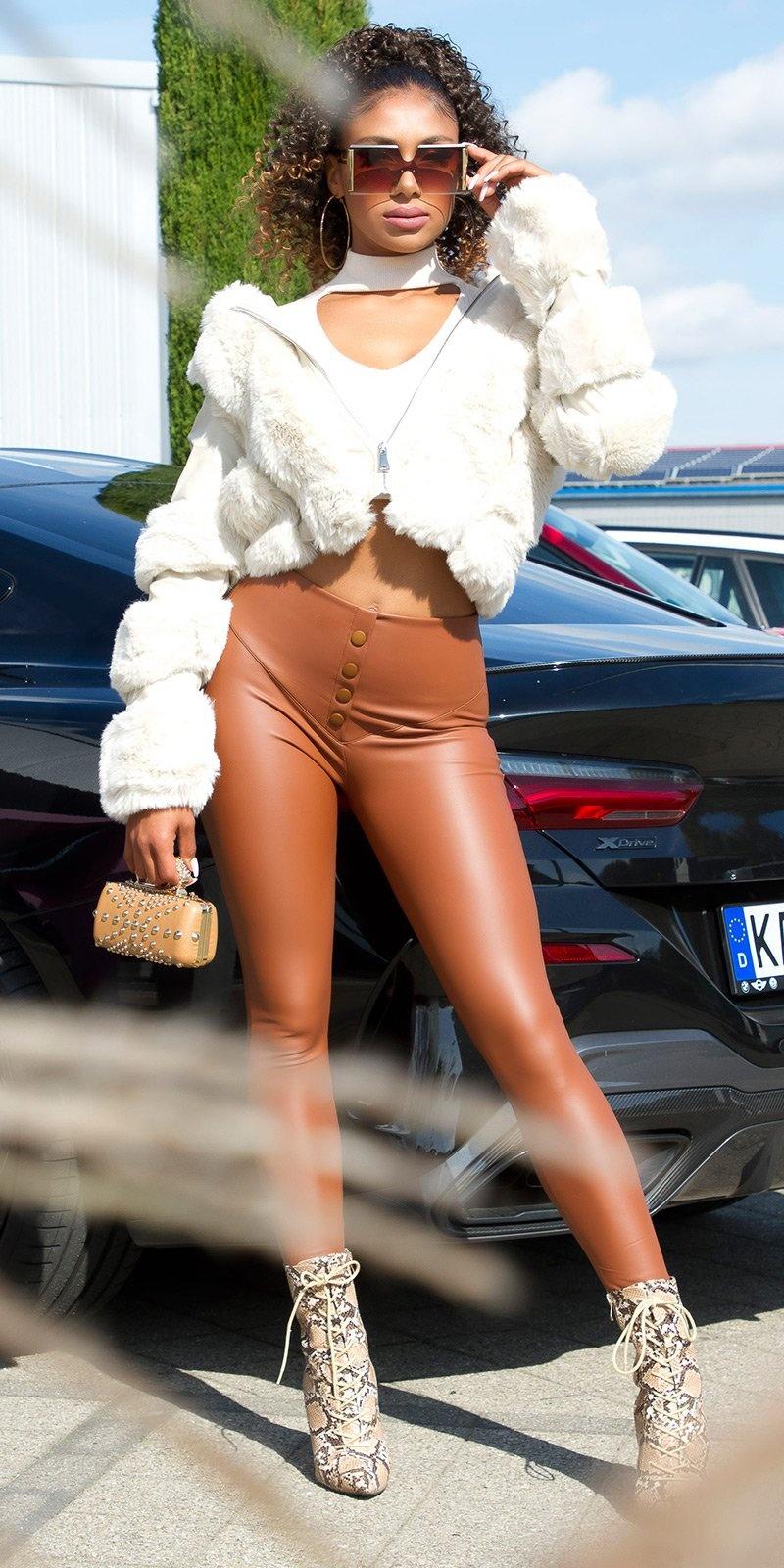Sexy hoge taille faux leder leggings bruin