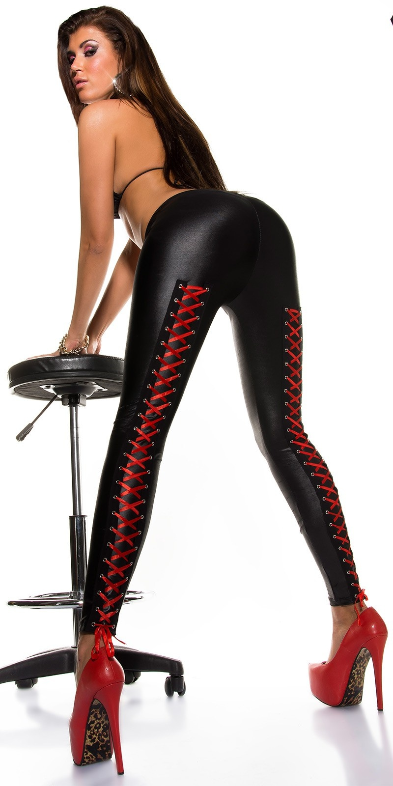 Sexy KouCla Wetlook leggings with lacing at back Black