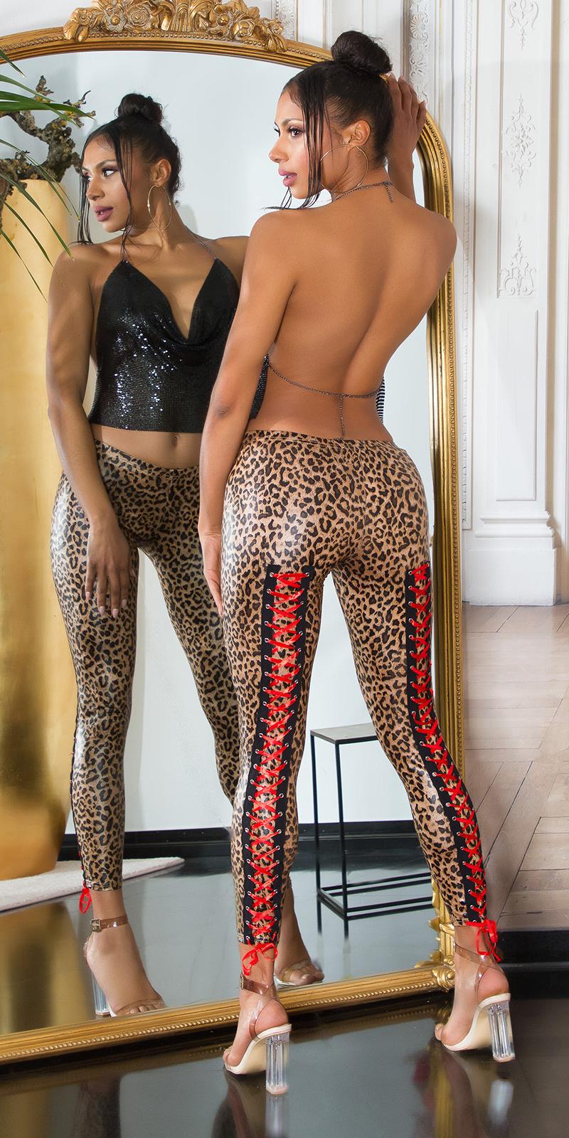 Sexy wetlook leggings met veter luipaard