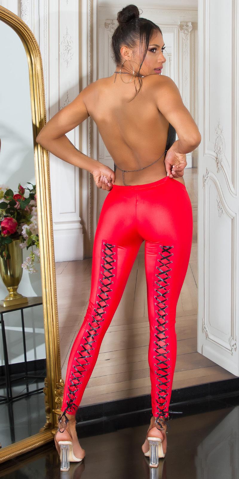 Sexy wetlook leggings met veter rood