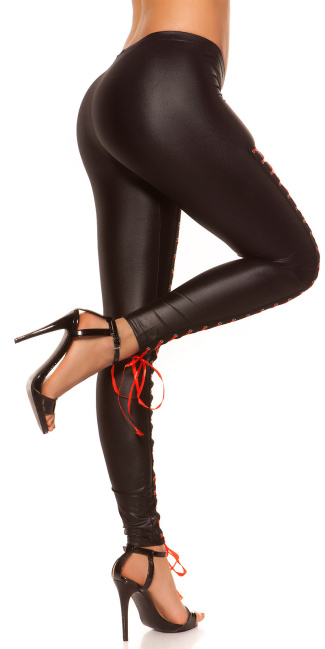 Sexy KouCla leggings with lacing at the front Black