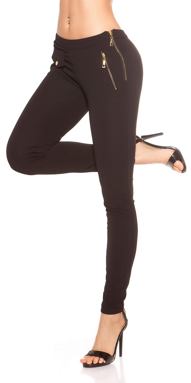 Trendy skinny business broek met ritssluiting zwart