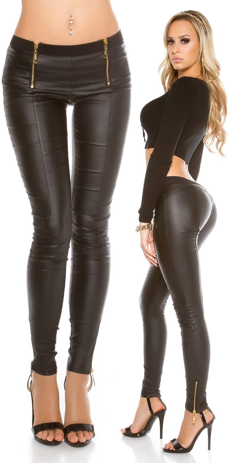 Sexy leatherlook pants with zips Black