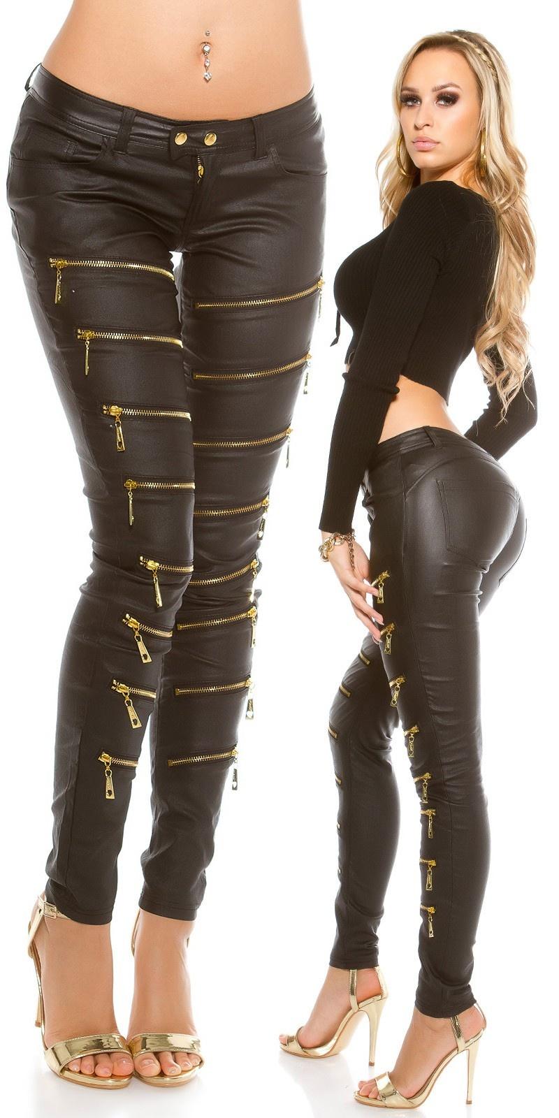 Sexy lederlook broek met deco-ritsen Zwart