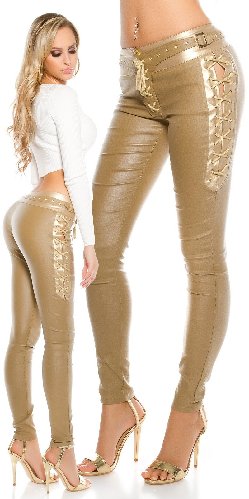 Sexy lederlook broek met veters beige