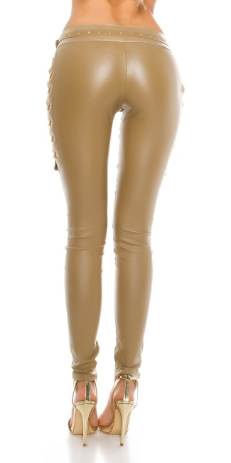 Sexy leatherlook pants with lacing Beige