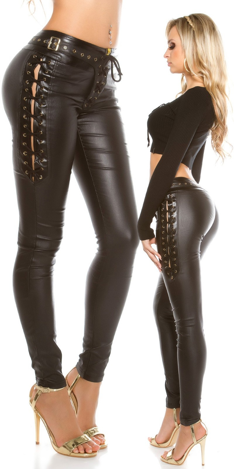 Sexy leatherlook pants with lacing Black