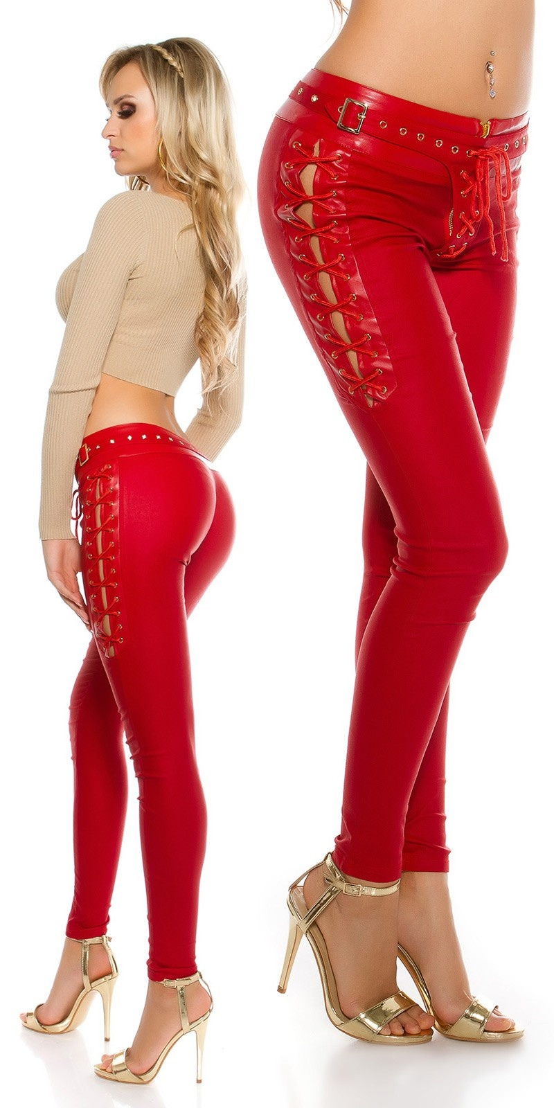 Sexy leatherlook pants with lacing Red