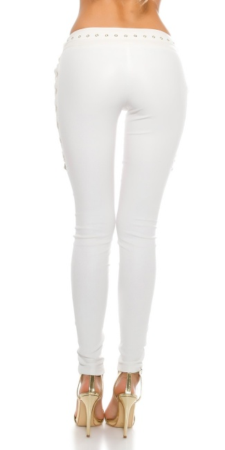 03c75ae8983b71 Sexy leatherlook pants with lacing White - ai0000LE18981-4 by ...