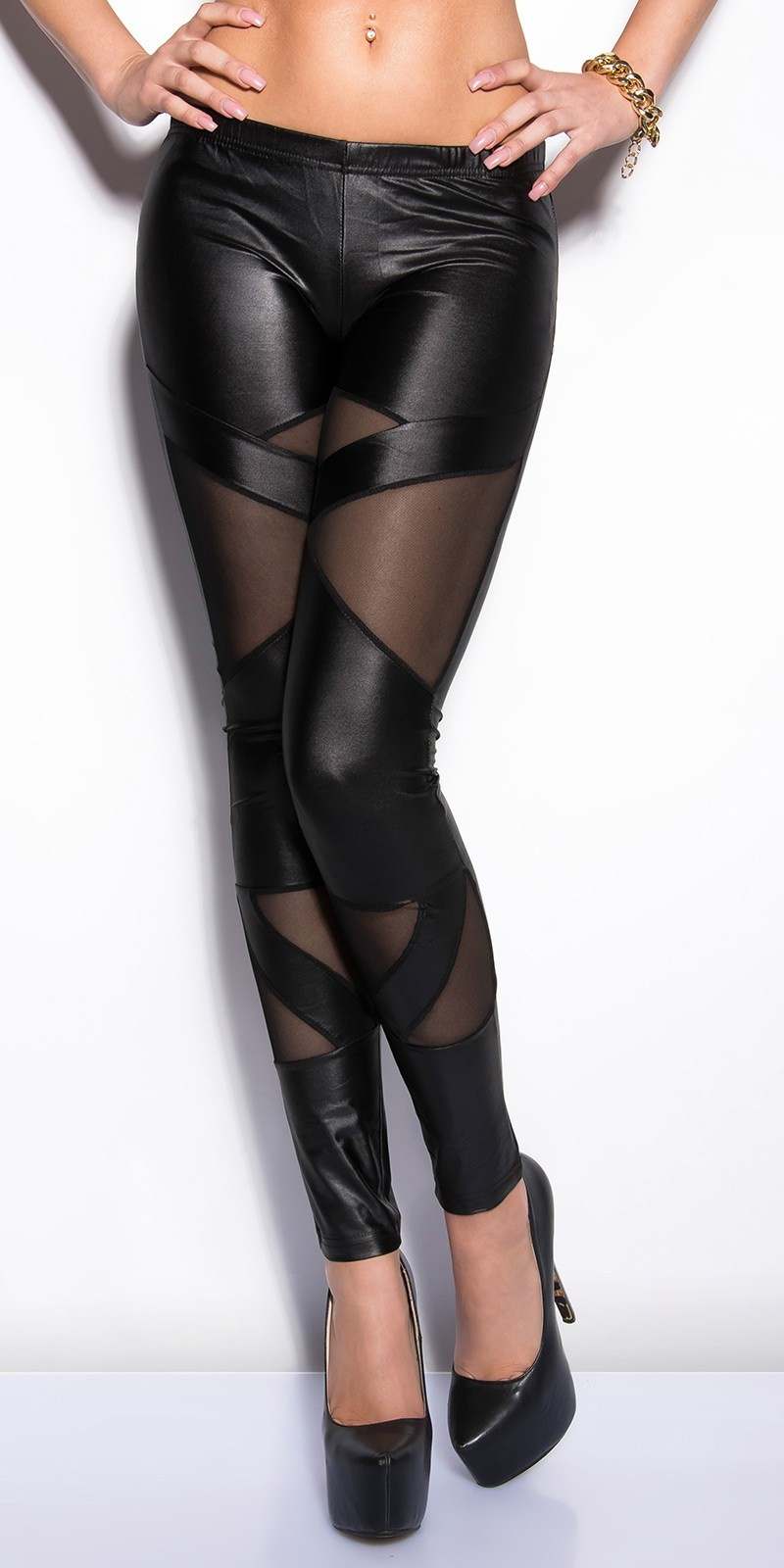 Sexy KouCla wetlook-leggings with netapplications Black