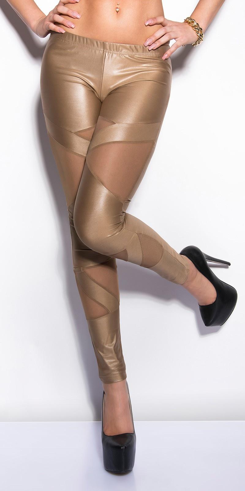 Sexy KouCla wetlook-leggings with netapplications Cappuccino
